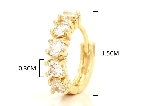 Small gold hoop earrings MEASUREMENT