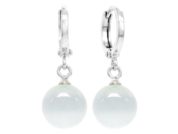 White moonstone hoop ball earrings MAIN