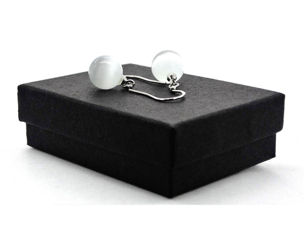 White moonstone ball earrings GIFT BOX