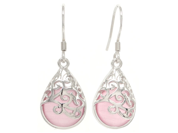 Decorated pink moonstone earrings