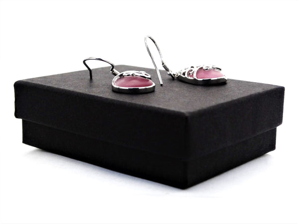 Decorated pink moonstone earrings GIFT BOX