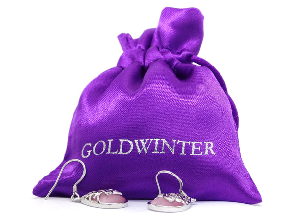 Decorated pink moonstone earrings GIFT BAG