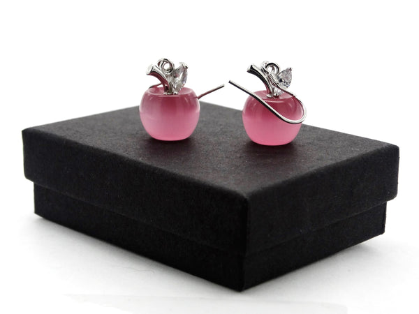Pink apple earrings GIFT BOX