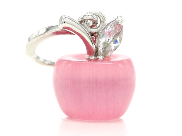 Pink apple hoop earrings FRONT