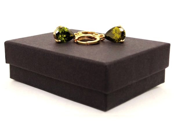 Gold green raindrop emerald type earrings GIFT BOX