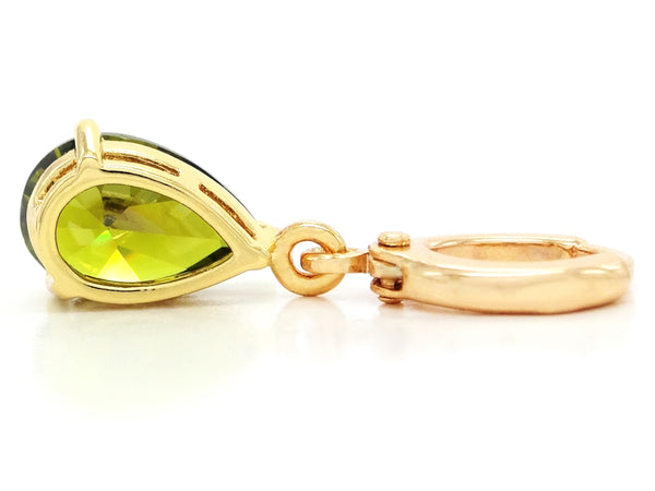 Gold green raindrop emerald type earrings BACK