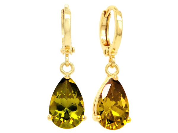 Gold green raindrop emerald type earrings