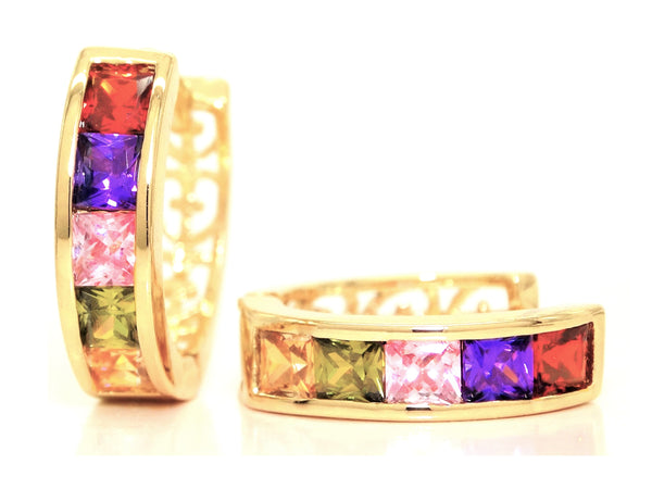 Gold princess rainbow gem earrings