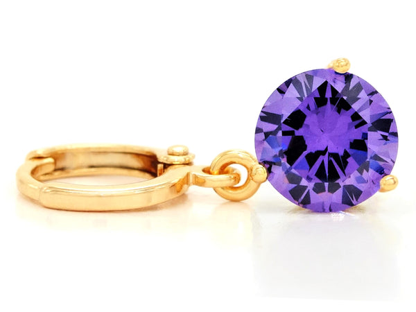 Purple gem gold earrings FRONT