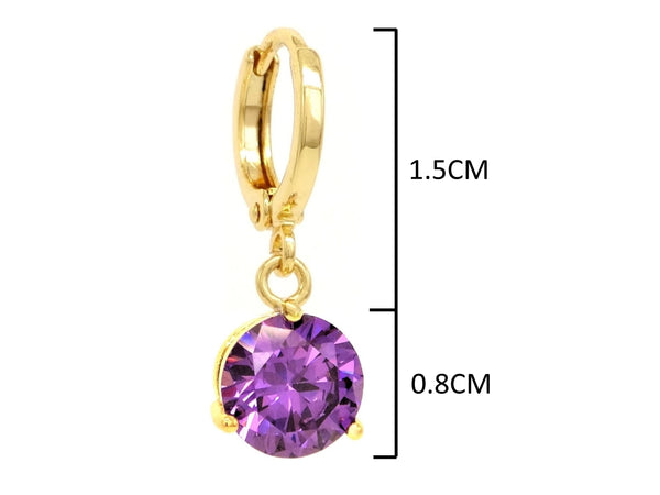 Purple gem gold earrings MEASUREMENT