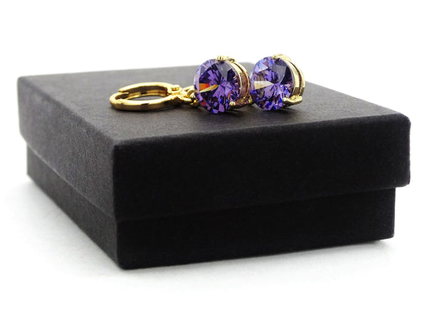Yellow gold purple round gem necklace and earrings GIFT BOX