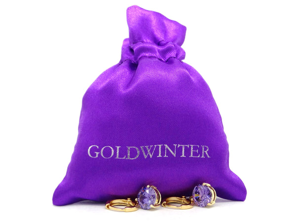Yellow gold purple round gem necklace and earrings GIFT BAG