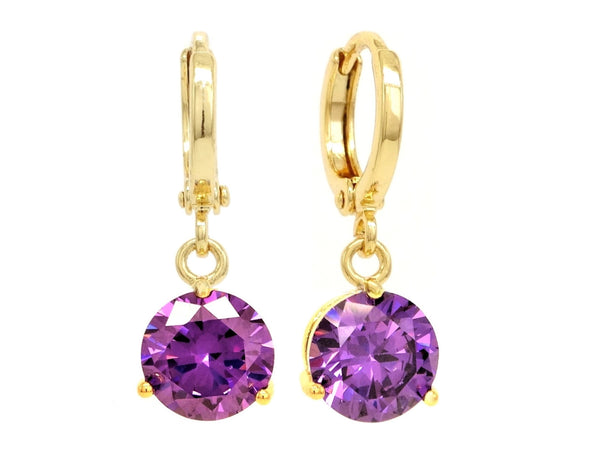 Purple gem gold earrings