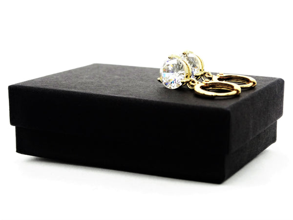 Clear gem gold drop earrings GIFT BOX