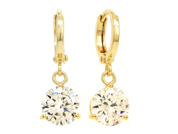 Clear gem gold drop earrings