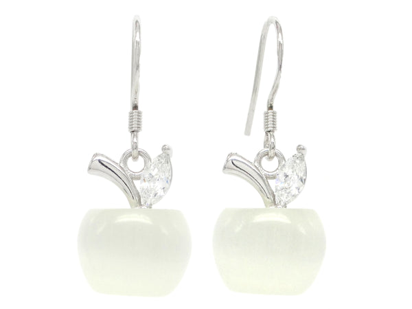 White apple earrings