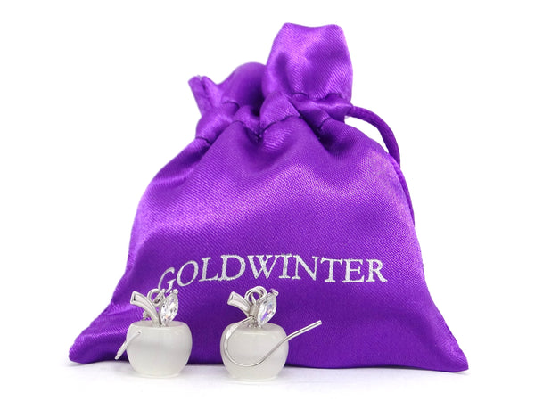 White apple earrings GIFT BAG