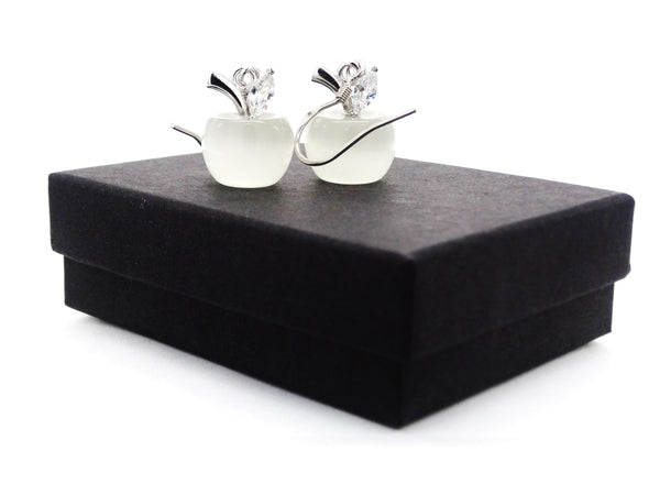 White moonstone apple necklace and earrings GIFT BOX