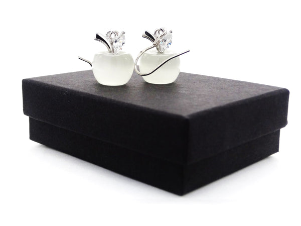 White apple earrings GIFT BOX