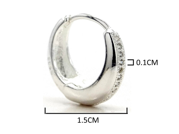 Sterling silver thin hoop earrings MEASUREMENT