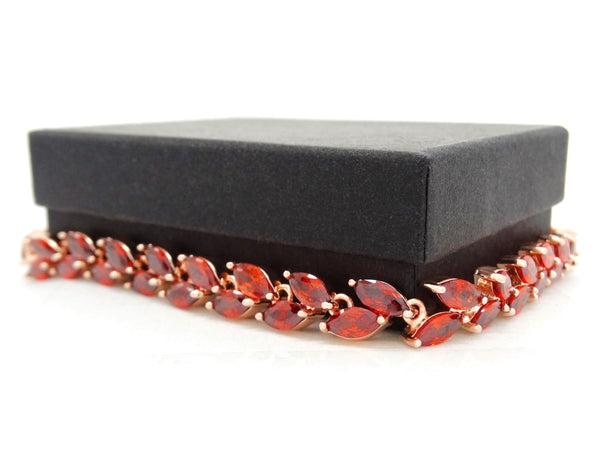 Red marquise rose gold bracelet GIFT BOX