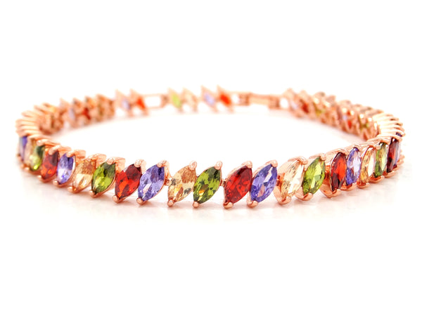 Different colored marquise rose gold bracelet MAIN
