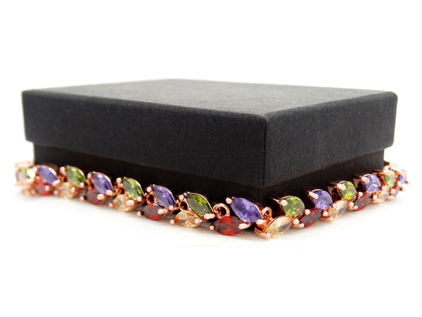 Different colored marquise rose gold bracelet GIFT BOX