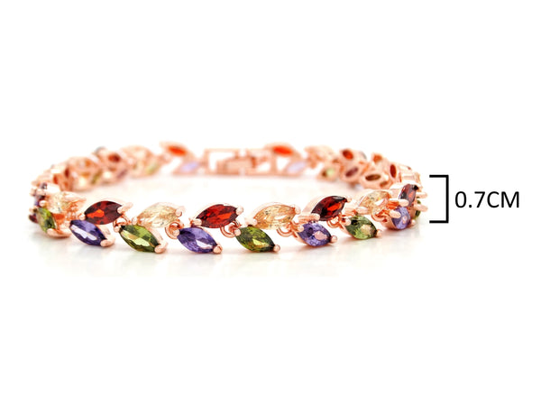 Different colored marquise rose gold bracelet MEASUREMENT