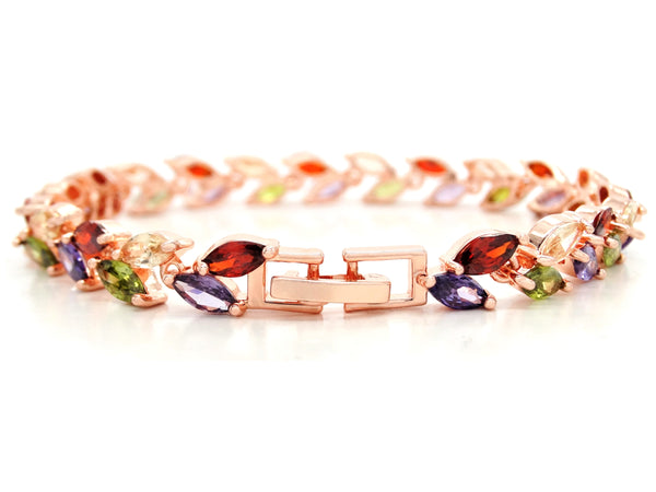 Different colored marquise rose gold bracelet BACK
