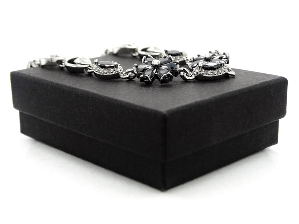 White gold black moonstone flower bracelet GIFT BOX