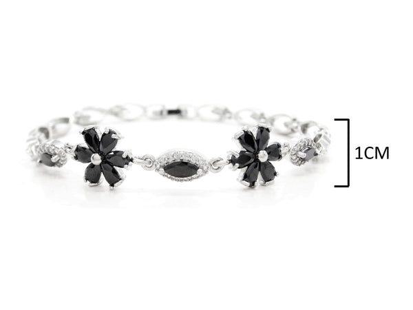 White gold black moonstone flower bracelet MEASUREMENT