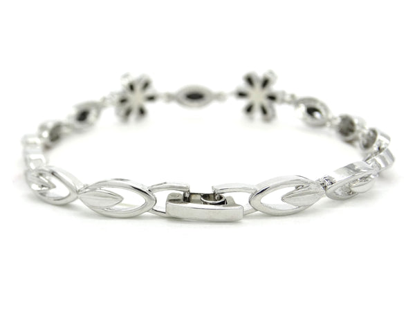 White gold black moonstone flower bracelet BACK