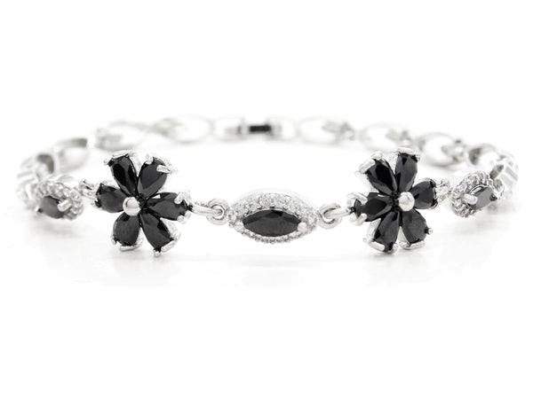 White gold black moonstone flower bracelet MAIN