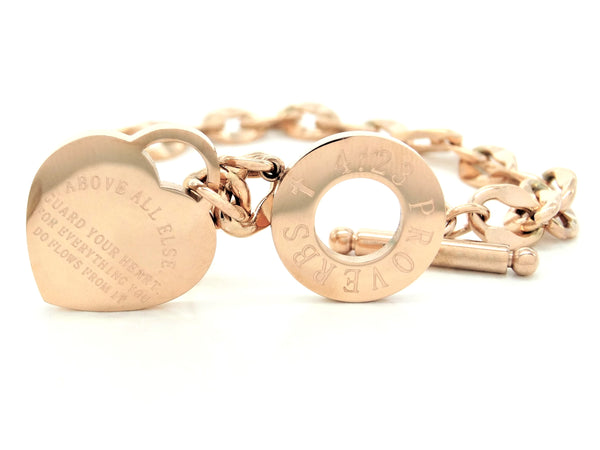 Rose gold proverbs 4:23 bracelet BACK