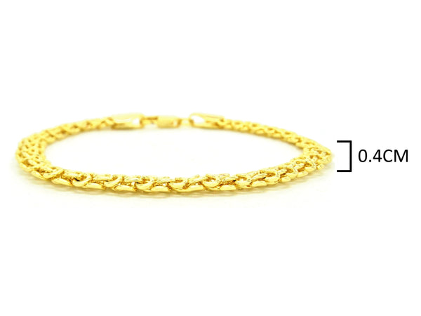 Yellow gold interweaving chain bracelet MEASUREMENT