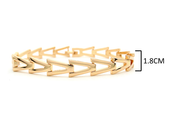 Yellow gold triangle link bracelet MEASUREMENT