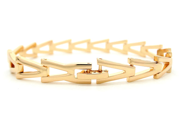Yellow gold triangle link bracelet BACK