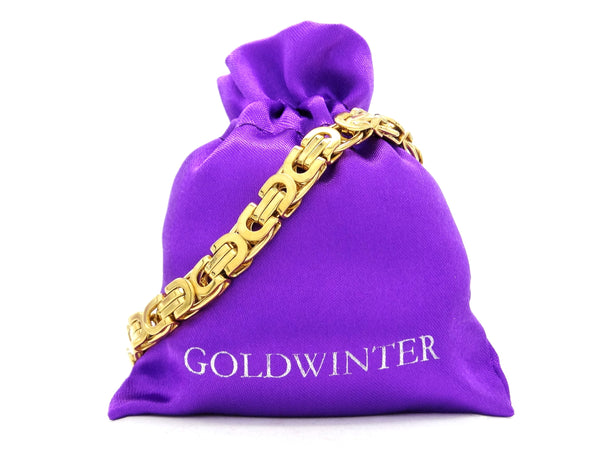 Yellow gold chunky fancy chain bracelet GIFT BAG