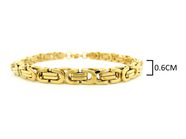 Yellow gold chunky fancy chain bracelet MEASUREMENT
