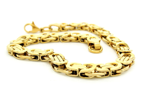 Yellow gold chunky fancy chain bracelet DISPLAY