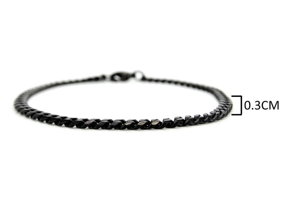 Black stainless steel thin chain bracelet MEASUREMENT
