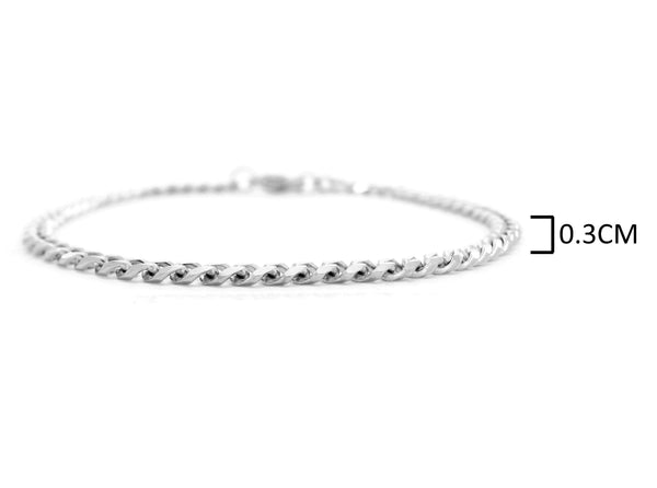 Sterling silver thin chain bracelet MEASUREMENT