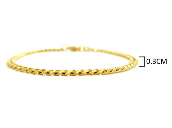 Yellow gold thin chain bracelet MEASUREMENT