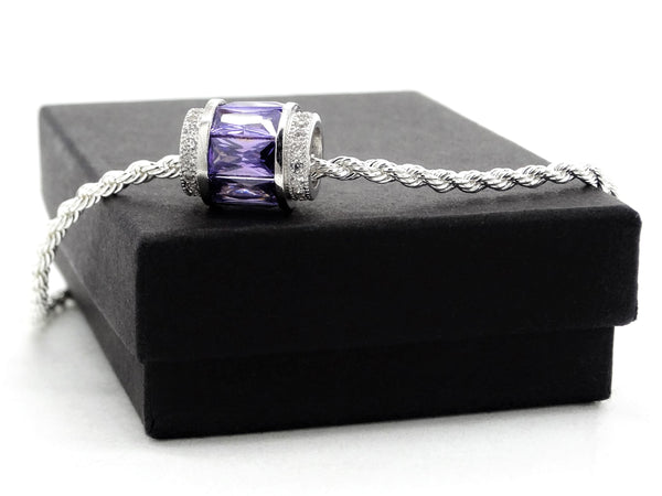 Sterling silver purple rope necklace GIFT BOX