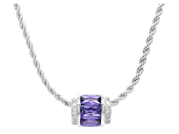 Sterling silver purple rope necklace MAIN