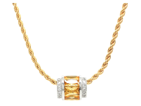 Gold citrine rope necklace MAIN