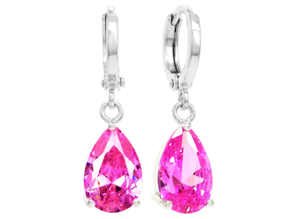 Pink raindrop white gold earrings MAIN