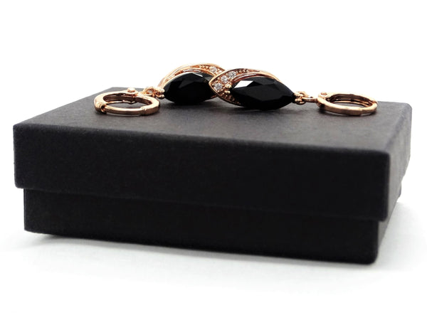 Rose gold black moonstone marquise earrings GIFT BOX