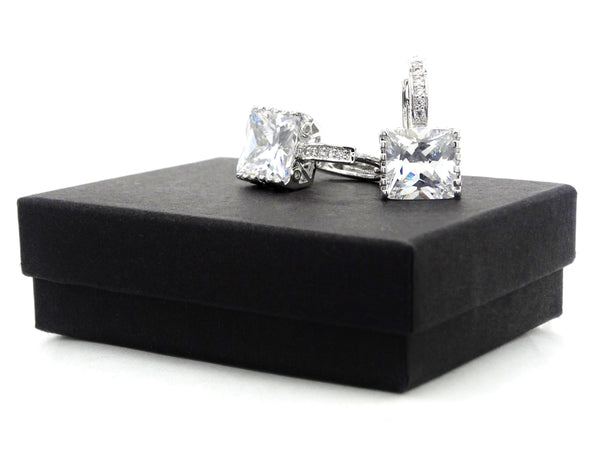 White gold princess hoop earrings GIFT BOX