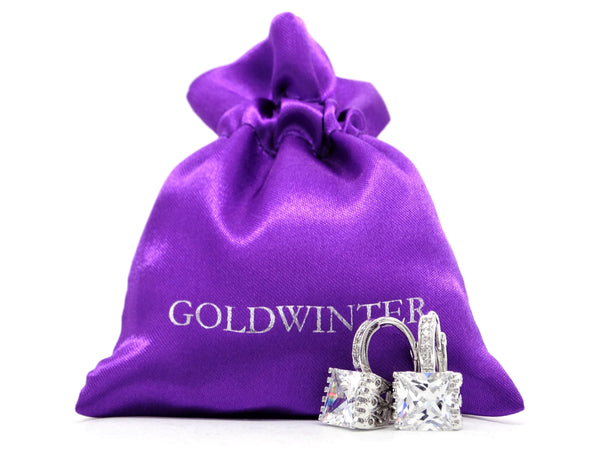 White gold princess hoop earrings GIFT BAG